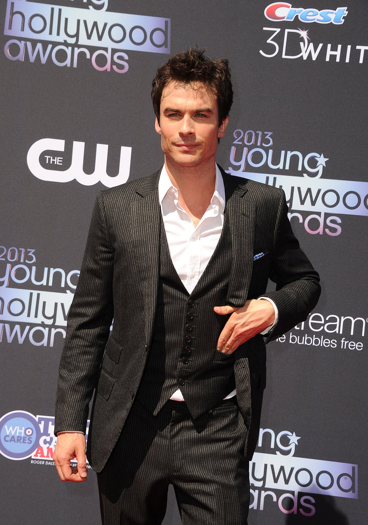 The Vampire Diaries's Ian Somerhalder put a hand in his vest pocket while walking the red carpet.