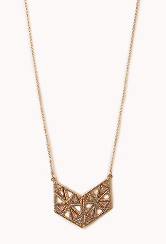 FOREVER 21 Etched Metal Long Necklace