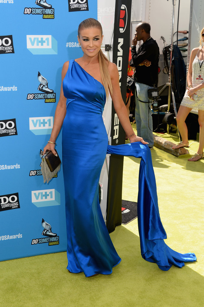 Carmen Electra wore a blue silk dress to the Do Something Awards.