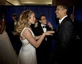 Jennifer Lopez joked around with President Obama backstage during the inaugural ball in Washington DC in January 2009.