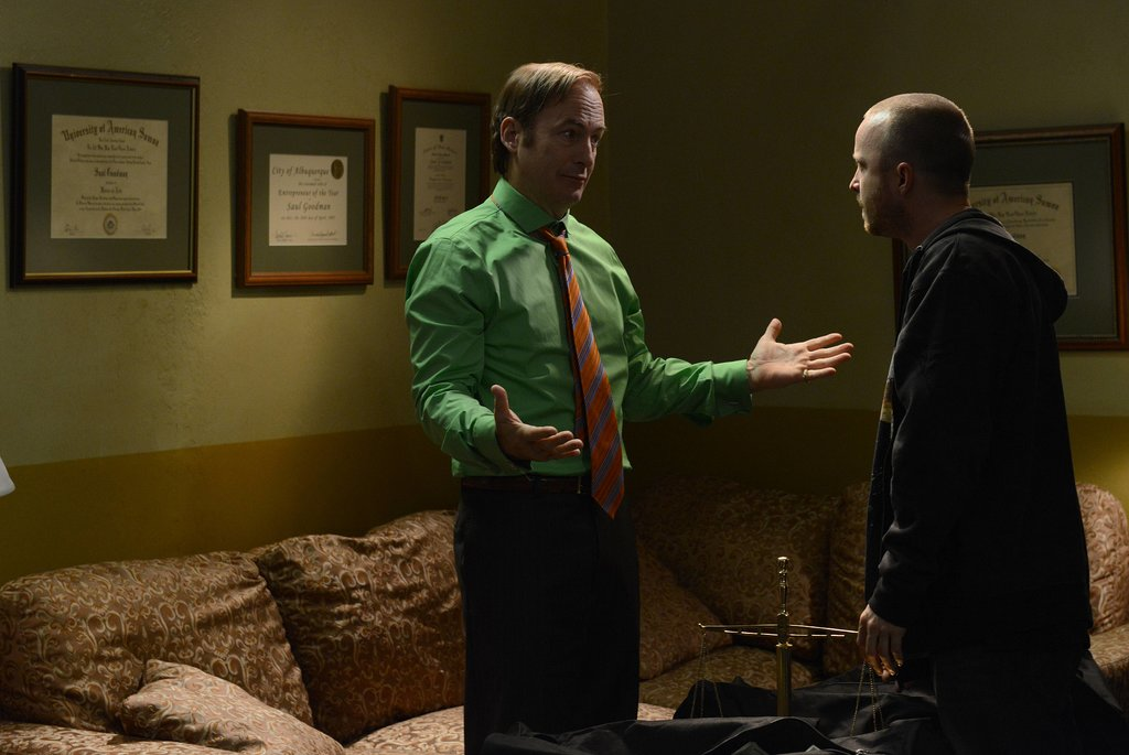 Bob Odenkirk and Aaron Paul on Breaking Bad.