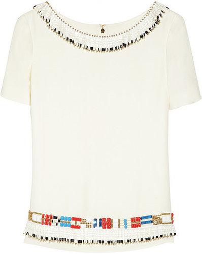 Tory Burch Jace embellished silk-georgette top