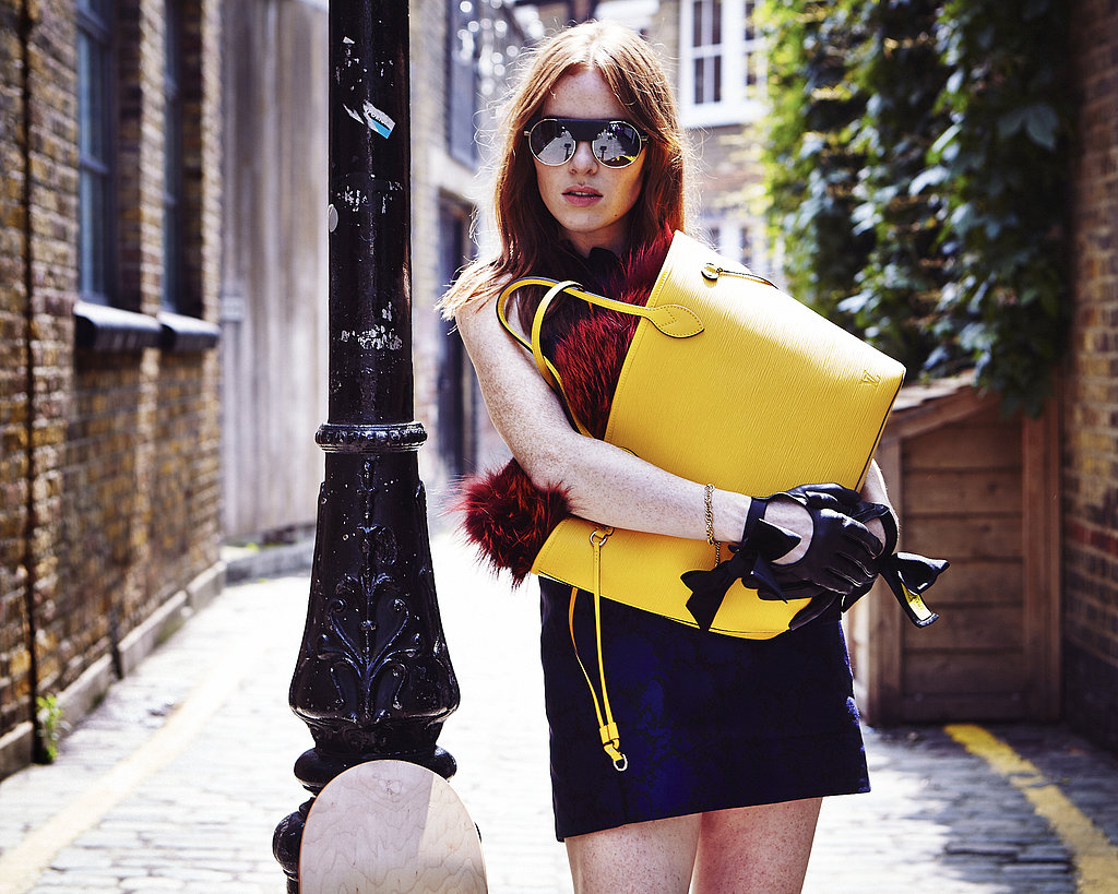 Angela Scanlon with a Louis Vuitton Neverfull.  Photo courtesy of Louis Vuitton