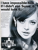 The Suave hair care brand is still available in drugstores today, and while the packaging has changed since this print ad, we wouldn't mind having smooth strands like this vintage model. Source: Flickr user Nesster