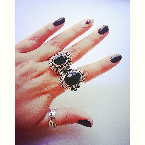 The best accessory to nail art? Gorgeous rings to match. Source: Instagram user thesweetestsin22