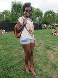 Ebony showed some serious Lollapalooza love with a sequined heart tee paired with striped denim.