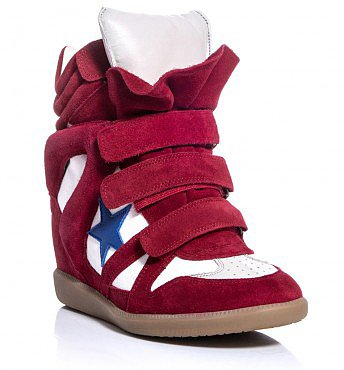 ISABEL MARANT RED 80MM BAYLEY SUEDE CANVAS WEDGE SNEAKERS