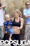 Kate Hudson wore a black sports bra to shoot a workout video on the beach in Santa Barbara.