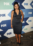Mindy Kaling got in touch with her inner vamp in a lace-trimmed satin sheath and maroon lips at the Fox bash.