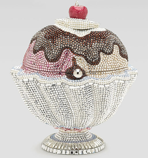 There's no better way to beam your pride than by carrying this sparkling Judith Leiber sundae clutch ($5,495).