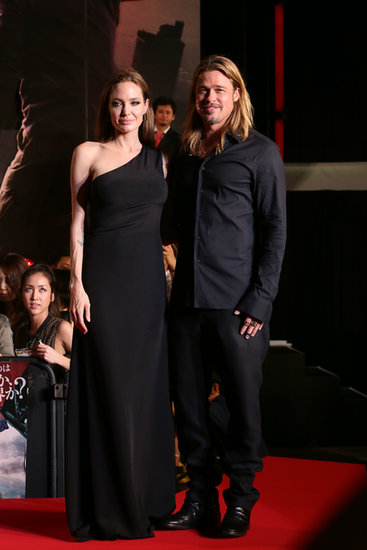 Angelina Jolie gave us her signature understated glamour in a one-shoulder black Saint Laurent gown with Brad Pitt at the World War Z premiere in Tokyo.
