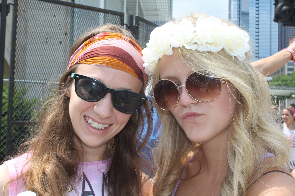 Is this Lollapalooza or Woodstock? Leah and Olivia brought the bohemian vibe to Chicago with a floral headpiece from Urban Outfitters and a vintage scarf found at Bonnaroo.