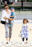 Jennifer Garner carried Samuel as her daughter Seraphina walked alongside her to the Natural History Museum in LA.