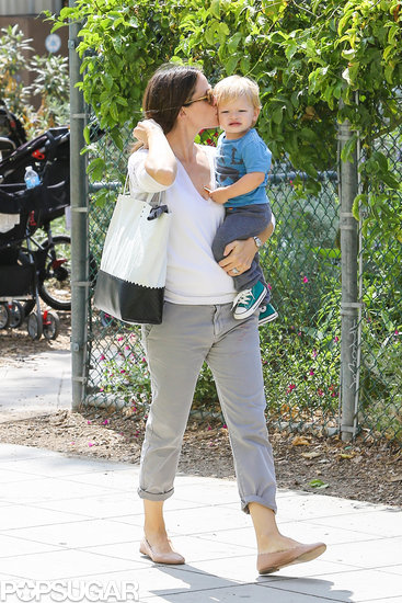 Jennifer Garner planted a kiss on her son Sam's cheek.