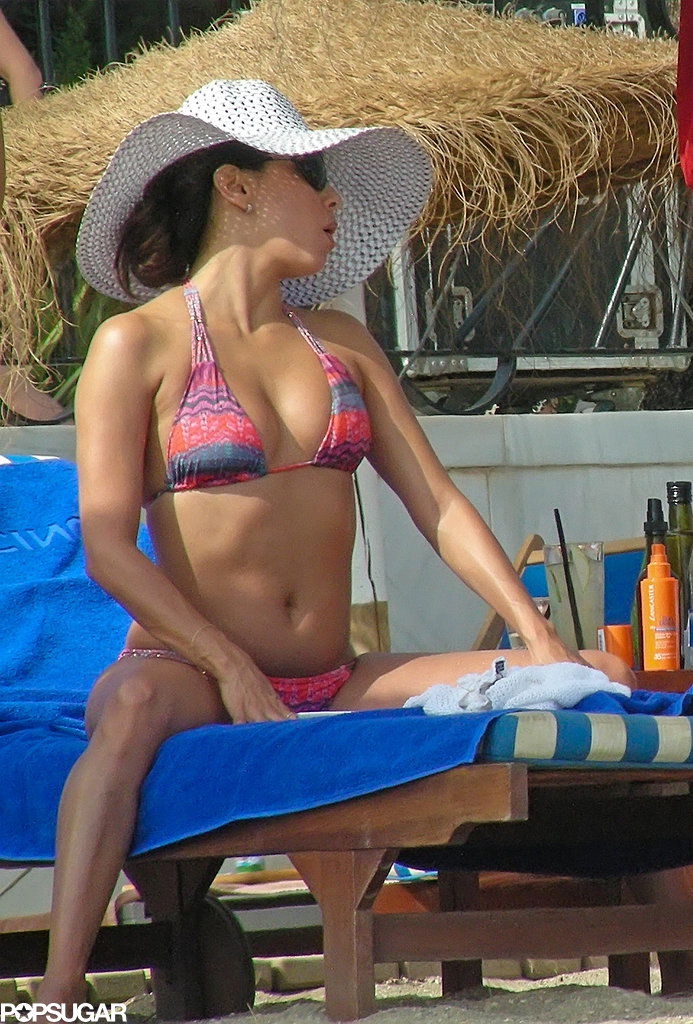 Eva Longoria showed off her bikini body in Spain.