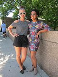 On-trend friends! Jade went black and white with an open-shoulder MinkPink top and sunglasses and studded flats, both from Topshop. Meanwhile, Pamela opted for a digital-printed dress from MinkPink (this style was popular at Lollapalooza!) and taupe Target booties.