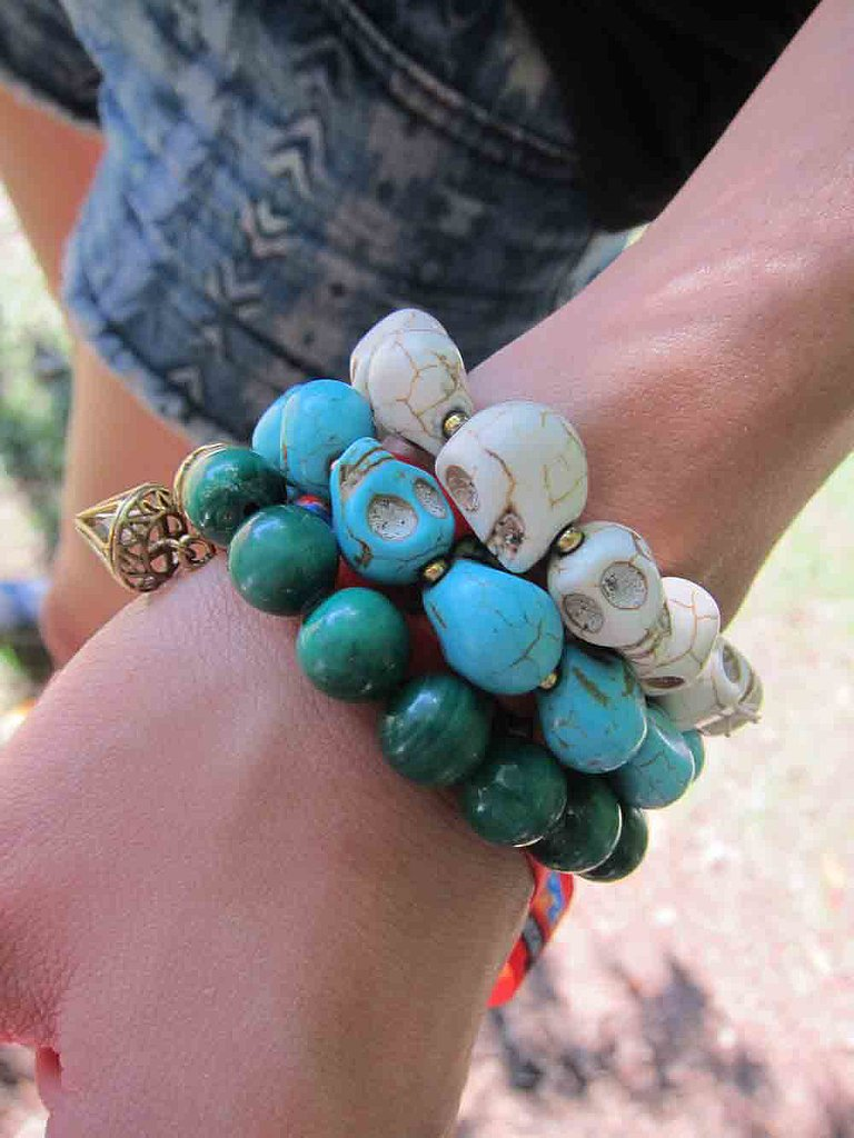Skulls got their moment in the sun with this set of bracelets.