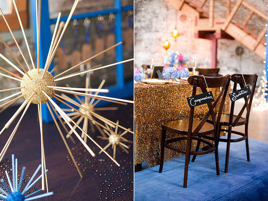 "A Whovian take on the bridal chairs is this ""companion"" and ""sweetie"" arrangement, a nod to River Song and the Doctor's many companions.  Source: Candice Benjamin Photography"