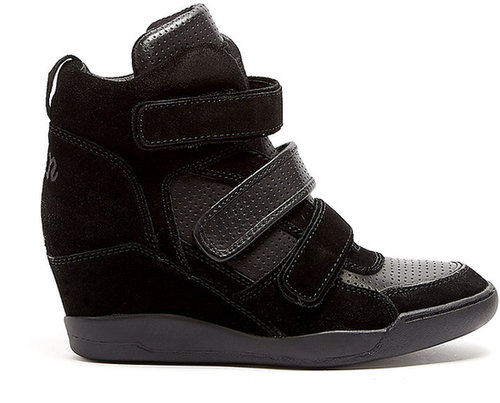 Ash Black Alex Bis Suede And Leather Wedge Trainer