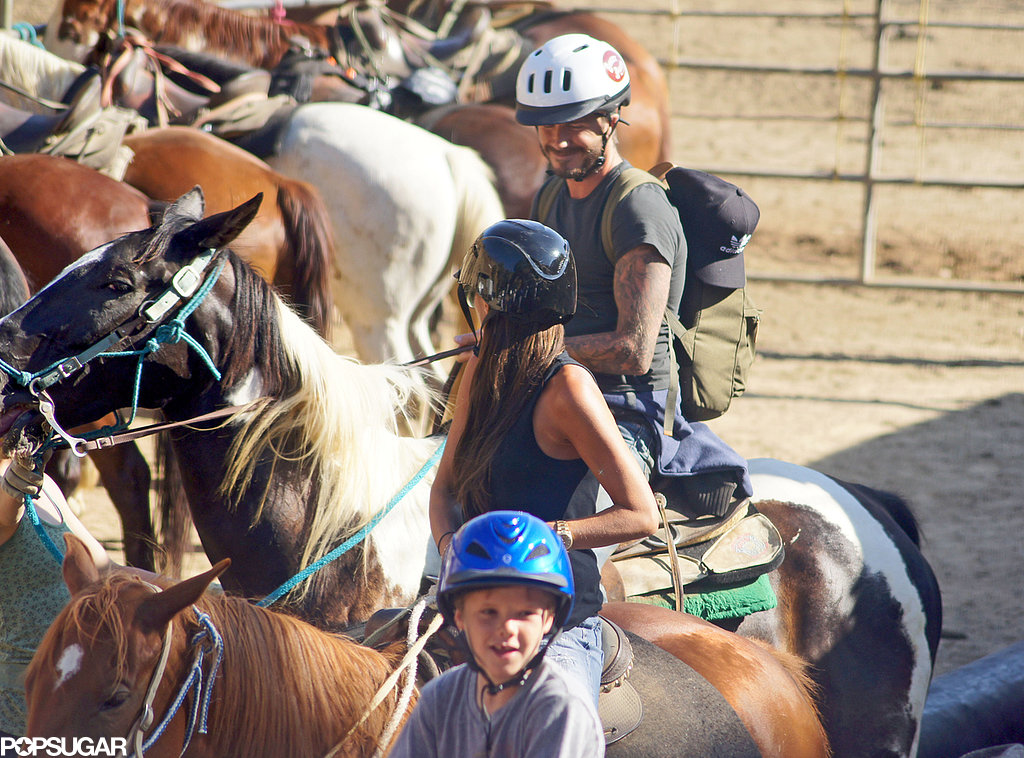 David and Victoria Beckham went horseback riding with their sons in LA.