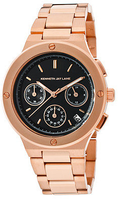 Kenneth Jay Lane Women's Chronograph Black Sunray Dial Rose Goldtone IP Stainless Steel