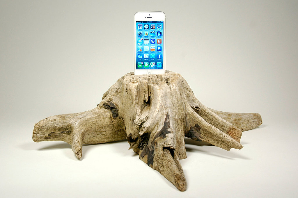 There are wooden docks and then there are wooden docks. This Driftwood Stump Docking Station ($200), made from pieces collected on the coast of Maine, is certainly one-of-a-kind.