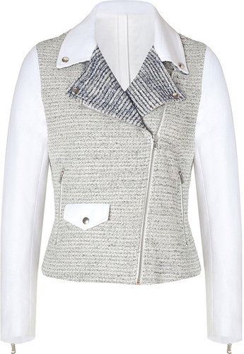 Sandro Blue/White Mixed-Media Cotton Biker Jacket
