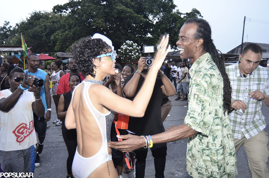 Rihanna celebrated with natives of Barbados for the Kadooment Festival.