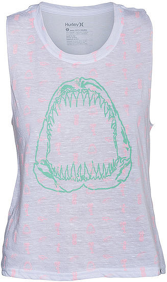 For a cool-girl riff on the theme, add this Hurley Shark Bite tank ($27) to your cutoffs.
