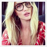 We kind of love Rosie Huntington-Whiteley's geek-chic specs — very Terry Richardson, no? Source: Instagram user rosiehw