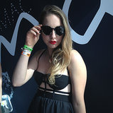 Este of the band Haim stopped by the MAC Cosmetics celebration during Lollapalooza to DJ. She was wearing her favorite shade by the brand, Ruby Woo.