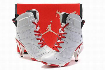 nike air jordan 6 heels white and red
