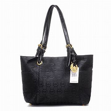 Michael Kors Jet Set Monogram Signature Tote Black Handbags Womens
