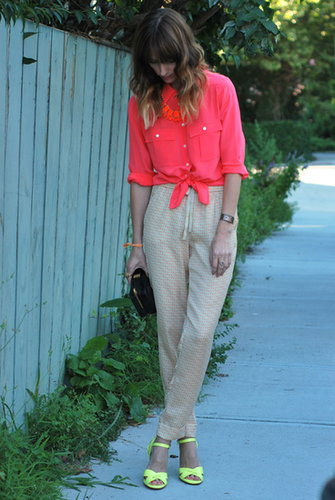 Silk pants and neon pink