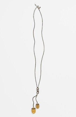 Rachel Stone Pendant Necklace Taupe/ Gold
