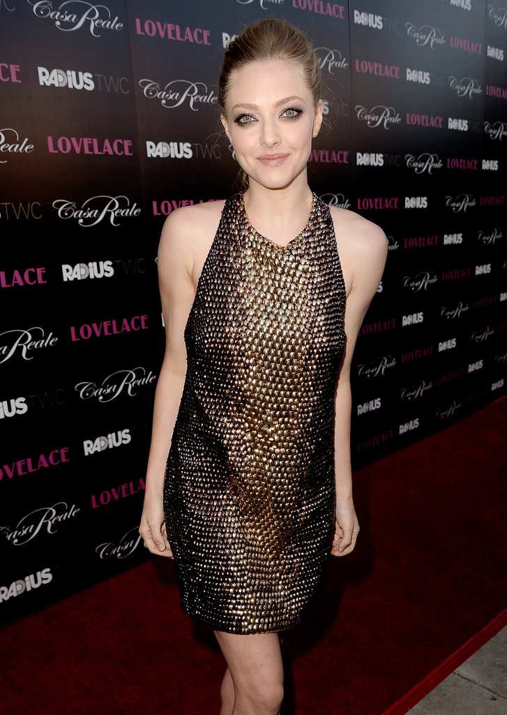 Amanda Seyfried wore a short Gucci dress for her LA premiere of Lovelace.