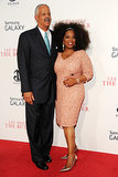 Oprah attended the New York premiere of The Butler with her longtime partner, Stedman Graham. She wore a custom sequined Theia dress and accessorized it with a Salvatore Ferragamo clutch and earrings, bangles, and a cocktail ring from Lorraine Schwartz.