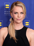 Charlize kept her hair fun and casual with a texturized side ponytail at the 2012 Human Rights Campaign Gala in LA.