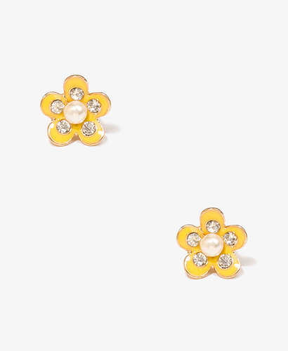 FOREVER 21 Pearlescent Flower Studs