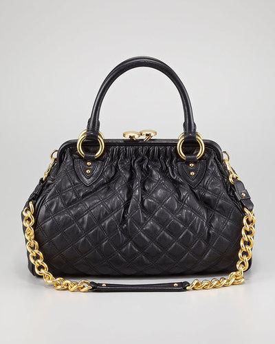 Marc Jacobs Stam Quilted Leather Satchel Bag, Black