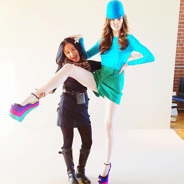 A brightly dressed Coco Rocha got a leg up behind the scenes. Source: Instagram user cocorocha