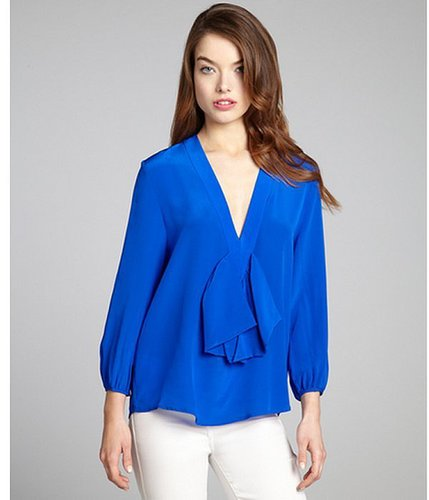 Cynthia Rowley electric blue silk three quarter sleeve bow blouse