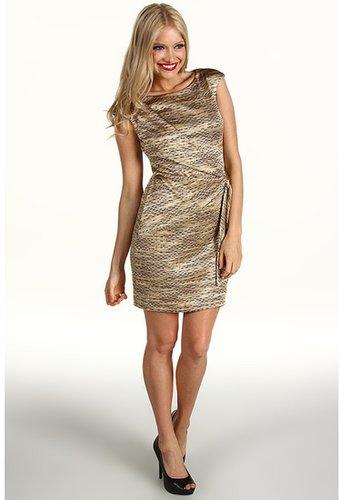 Muse - Knot Hip Sash Dress (Gold Multi) - Apparel