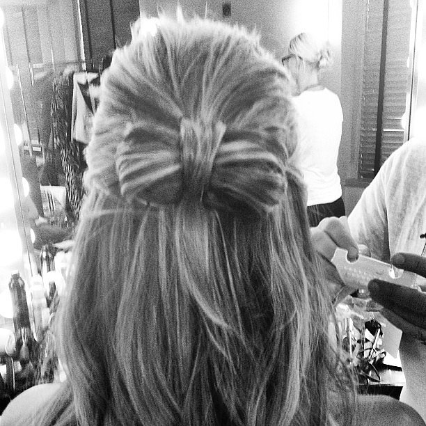 Heidi Klum also had some fun with knots, opting for a twisted hair bow. Source: Instagram user heidiklum