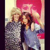 Sally Hershberger posed with Jane Fonda in front of the star's picture in her Manhattan salon. Source: Instagram user sallyhershberger