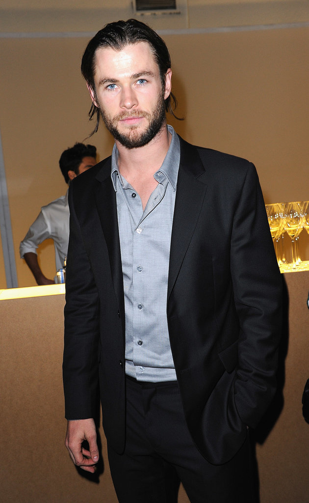 Chris sported a darker look at a Calvin Klein Collection dinner in London in Oct. 2011.