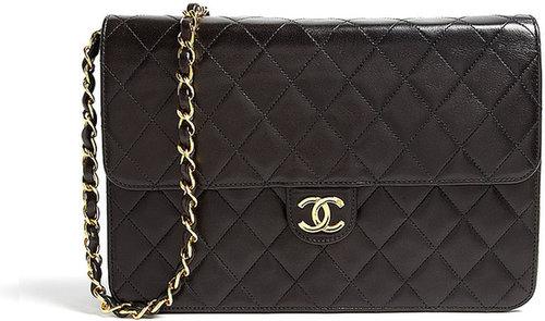 Black Leather Quilted Chanel Shoulder Bag By Rewind Vintage