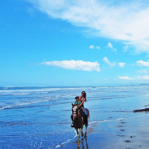 Gisele Bündchen went horseback riding on the beach with her son, Benjamin Brady. Source: Instagram user giseleofficial