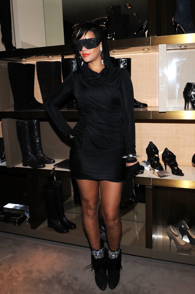 Fashion's Night Out requires high-fashion features, and Rihanna's black-on-black ensemble didn't disappoint. The style maven struck a pose in an LBD, crystal-accent ankle boots, pyramid shades, and a fierce spike bracelet in 2009.
