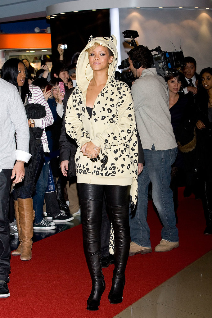 The singer showcased her cheeky style in a leopard hoodie, complete with ears, whiskers, and teeth, while promoting her Rated R album in February 2010.